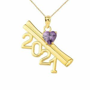 Gold 2021 Graduation Diploma Birthstone Necklace